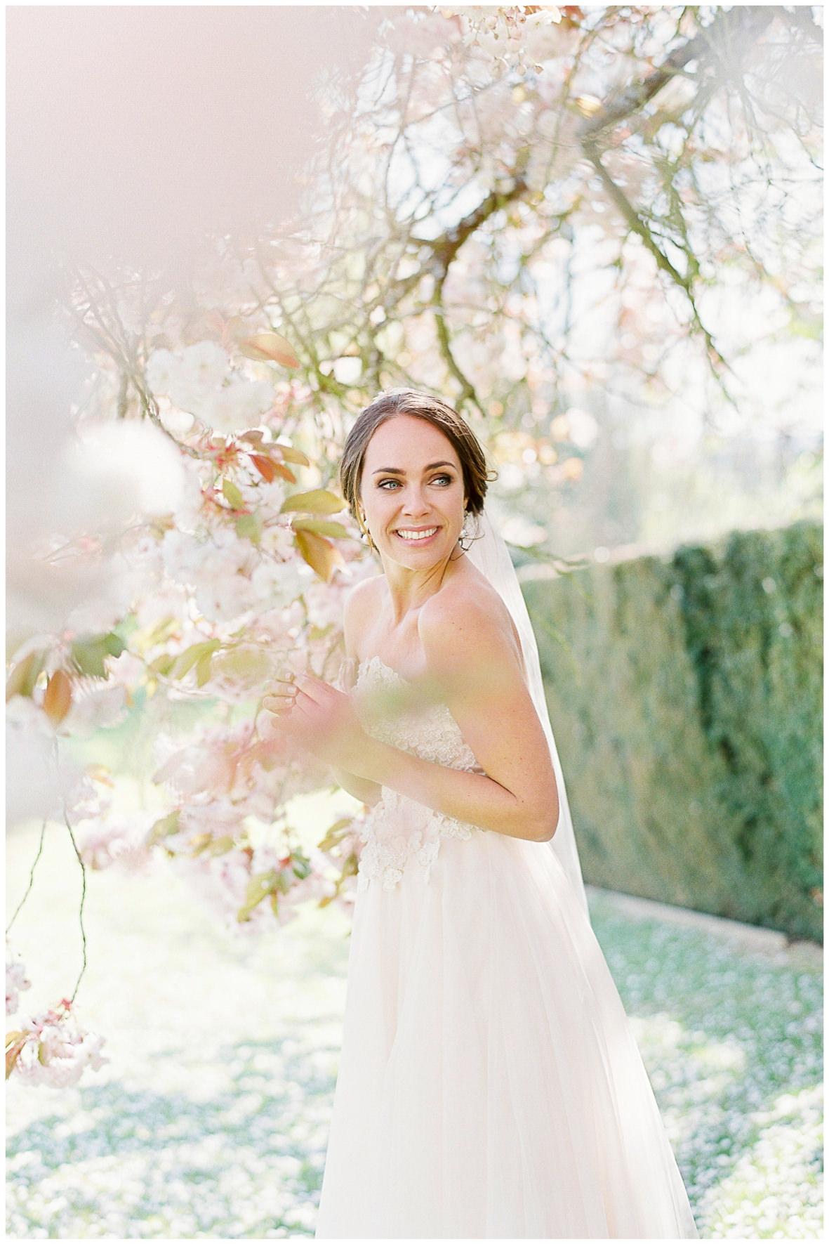 Lucy Davenport Photography, Holdenby House, wedding venue, Northamptonshire, The Couture Gallery, wedding dress, coloured wedding dress, blush pink wedding dress, veil, bridal headpiece