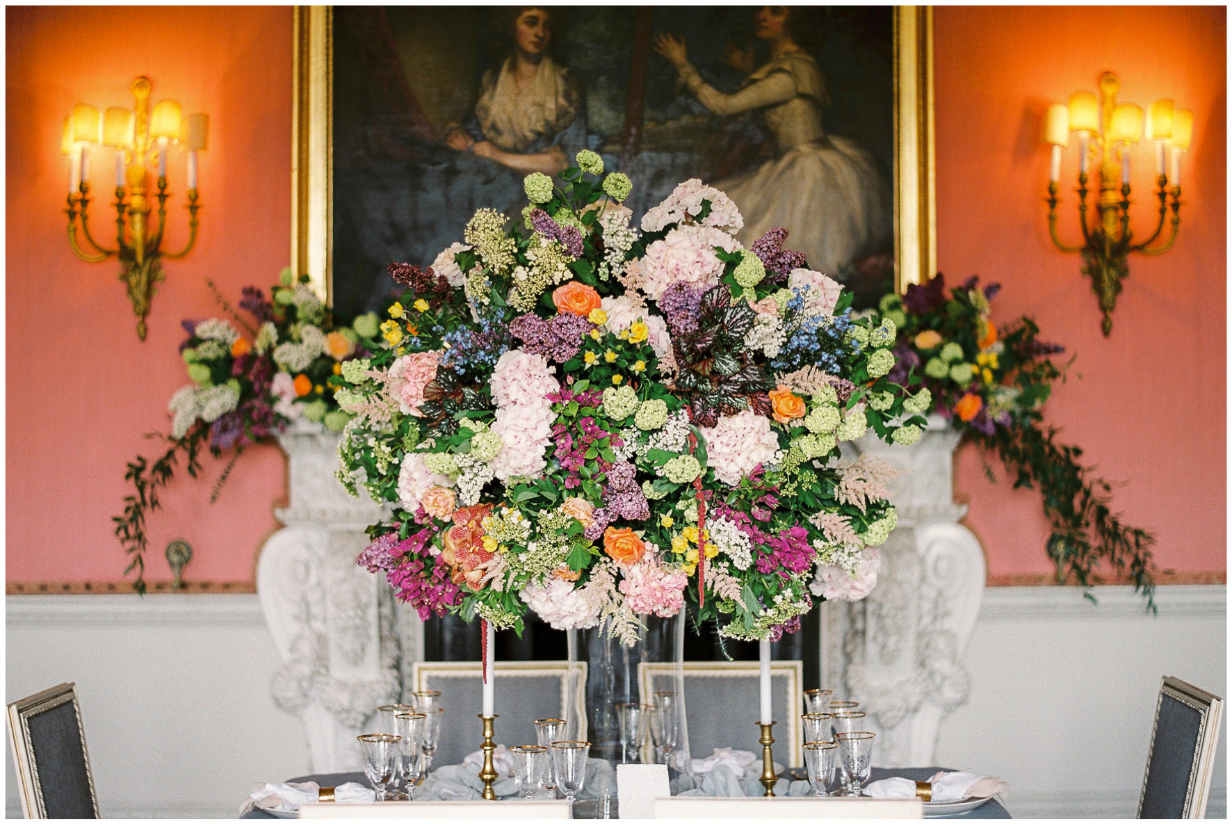 Lucy Davenport Photography, Holdenby House, wedding venue, Northamptonshire, wedding breakfast, tablescape, gold rim wine glasses, gold cutlery,