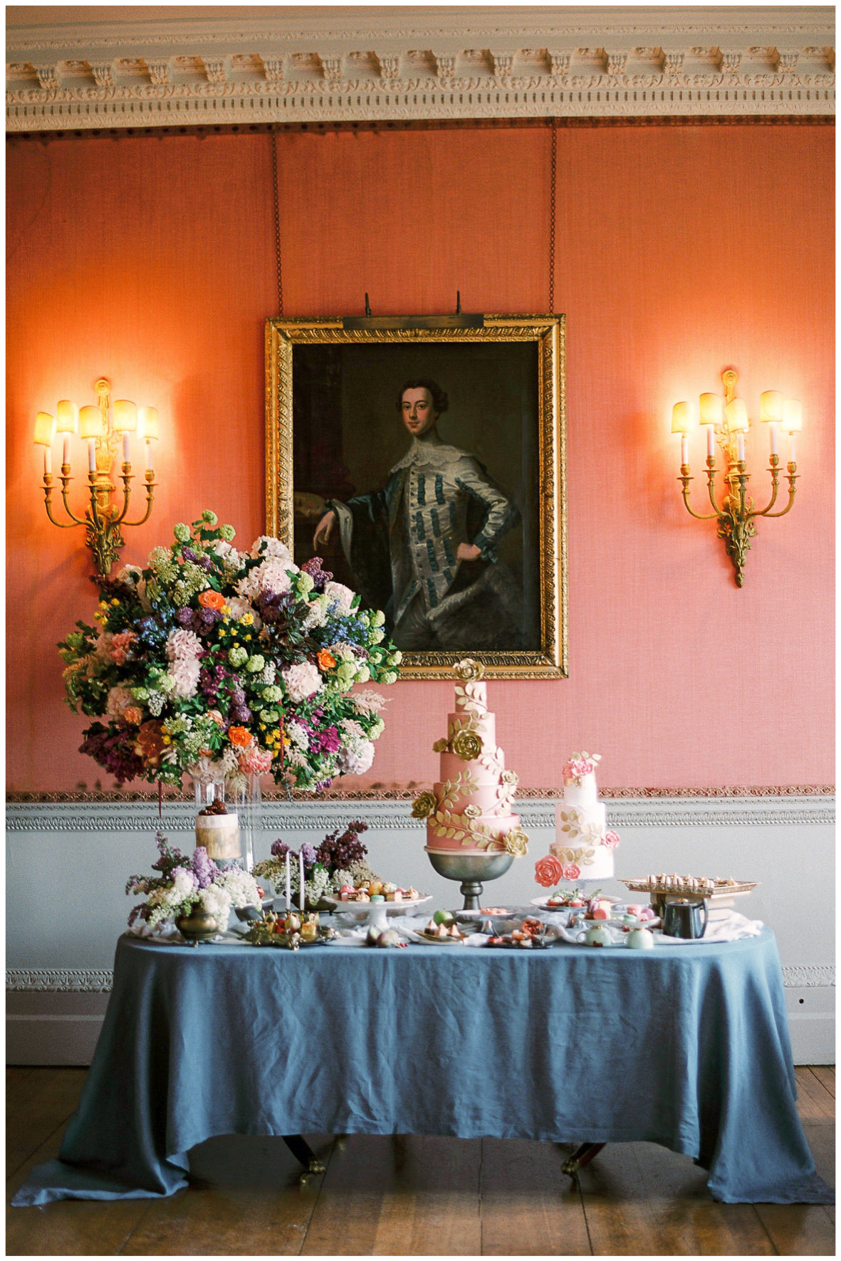 Lucy Davenport Photography, Holdenby House, wedding venue, Northamptonshire, dessert station, Princess Patisserie, wedding cake, Indulgence Boutique Catering, florals, Ronny Colbie