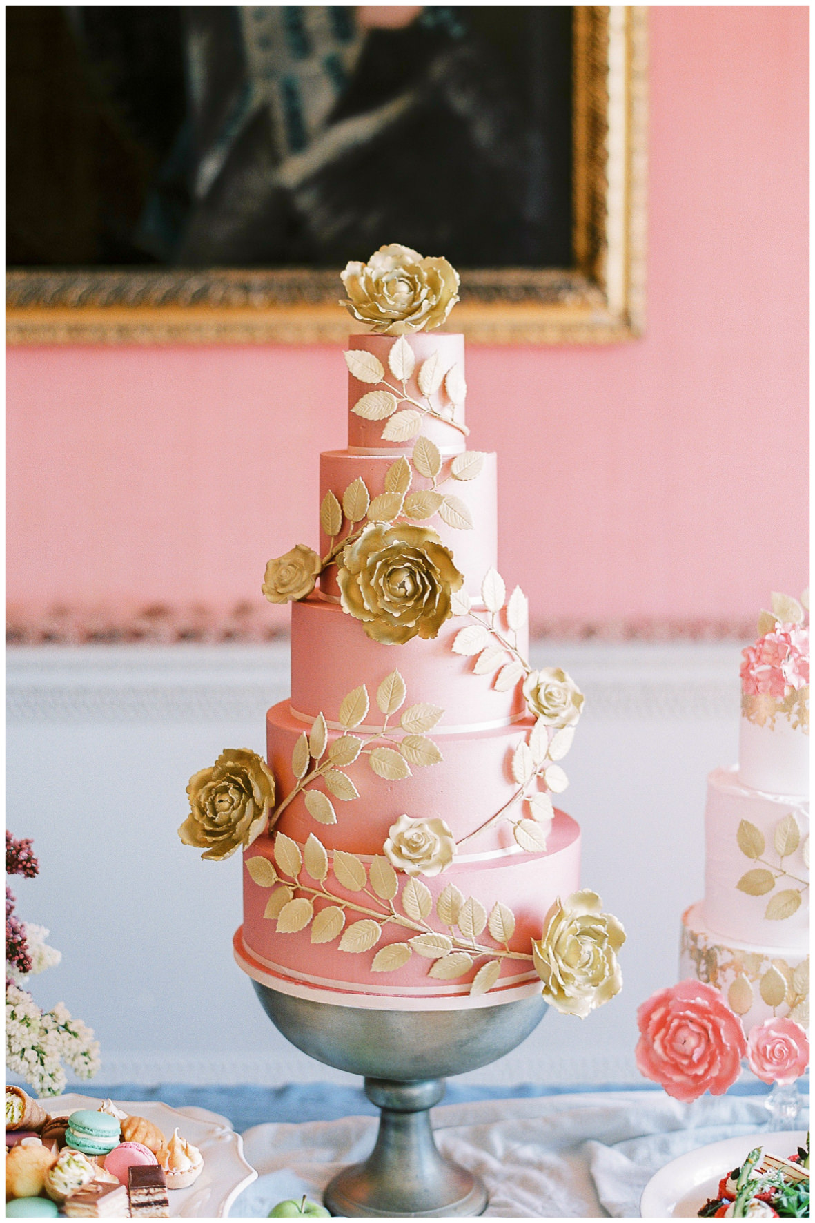 Lucy Davenport Photography, Holdenby House, wedding venue, Northamptonshire, dessert station, Princess Patisserie, wedding cake,