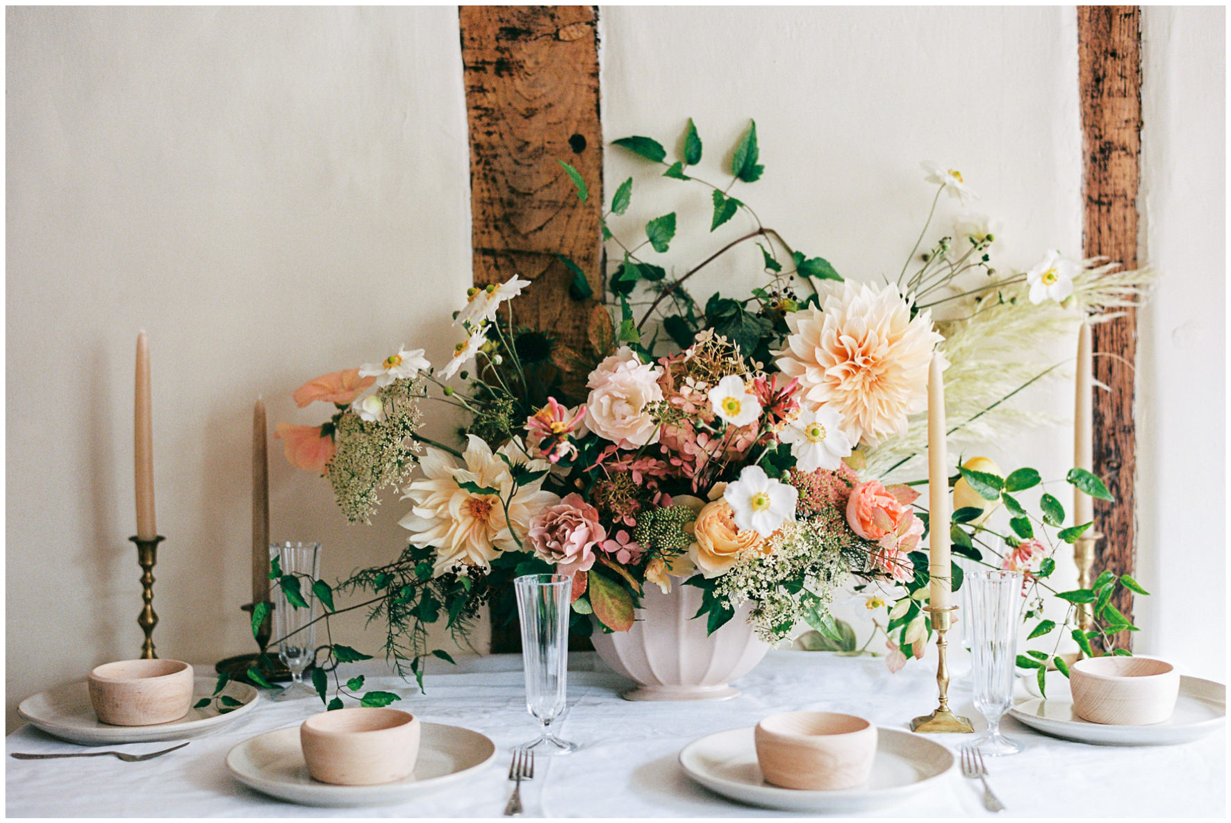 Lucy Davenport Photography, Once Wed, Home Creations, The Wedding Stylist, Verity & Thyme, tablescape, intimate dinner, wedding breakfast, florals,