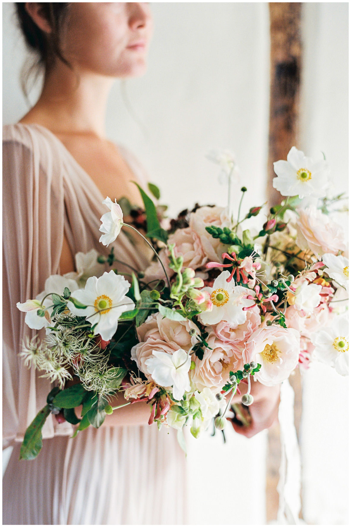 Lucy Davenport Photography, Once Wed, Home Creations, The Wedding Stylist, Verity & Thyme, model, coloured wedding dress, florals, bouquet,
