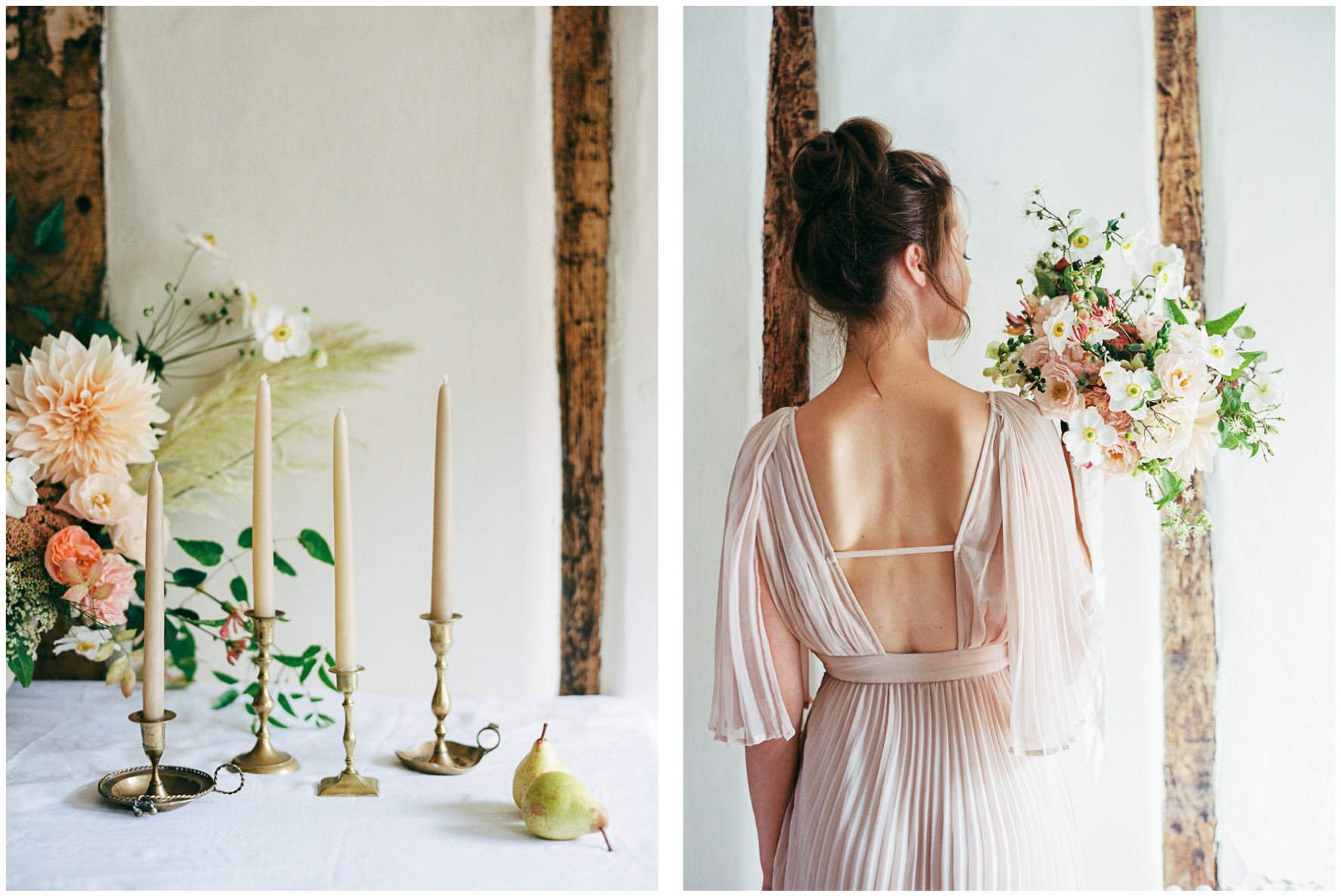 Lucy Davenport Photography, Once Wed, Home Creations, The Wedding Stylist, Verity & Thyme, tablescape, intimate dinner, wedding breakfast, florals, bouquet, coloured wedding dress