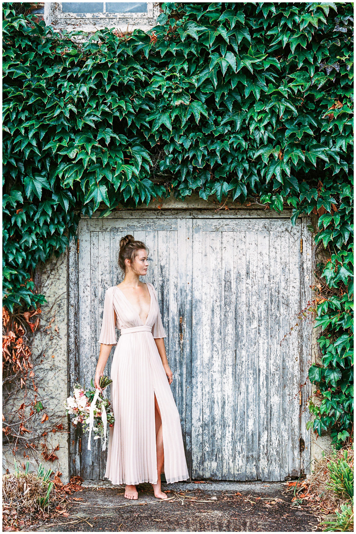 Lucy Davenport Photography, Once Wed, Home Creations, The Wedding Stylist, Verity & Thyme, bare footed bride, coloured wedding dress, florals, bouquet,