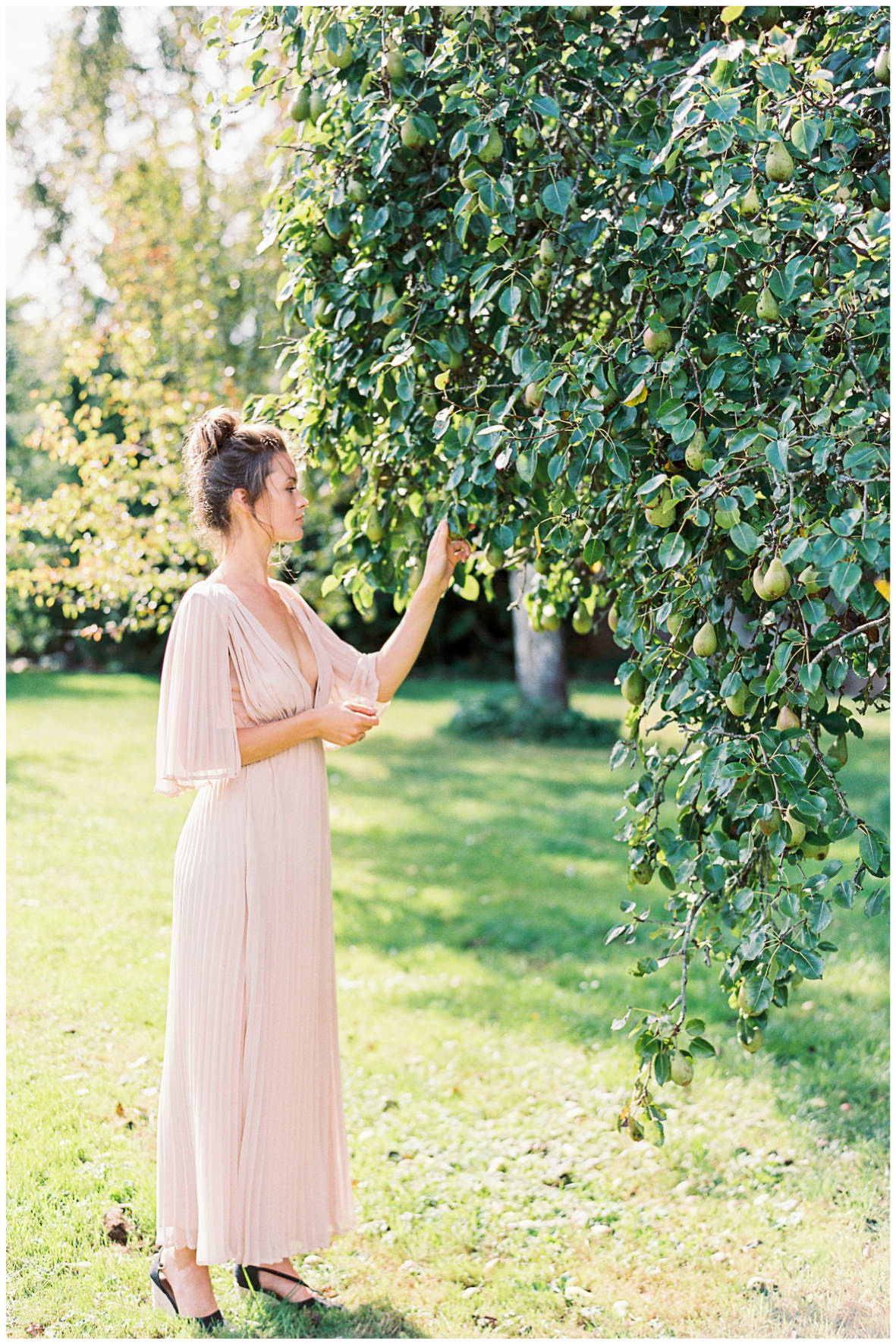 Lucy Davenport Photography, Once Wed, Home Creations, The Wedding Stylist, Verity & Thyme, picking from the pear tree, coloured dress