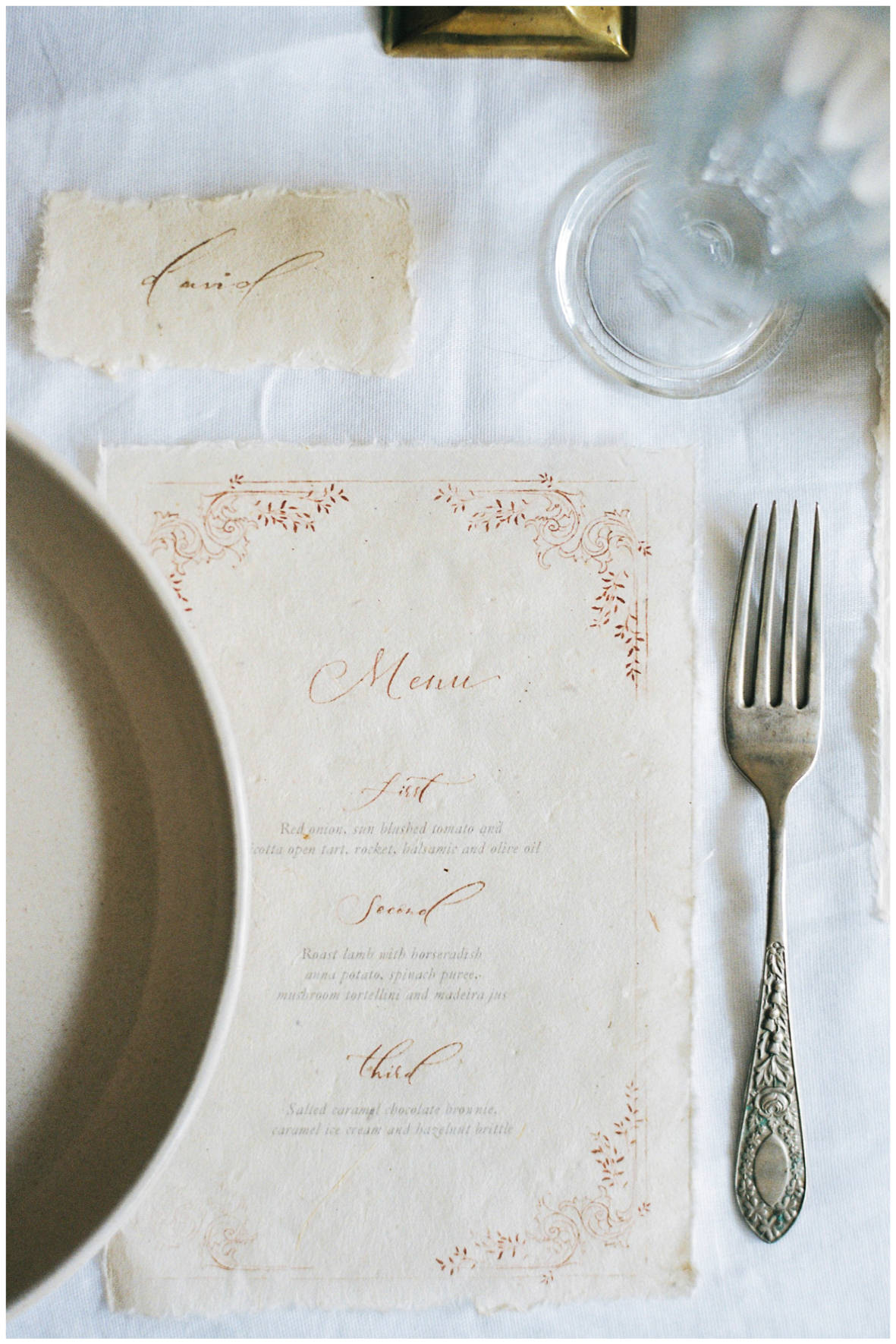 Lucy Davenport Photography, Once Wed, Home Creations, The Wedding Stylist, Verity & Thyme, tablescape, intimate dinner, wedding breakfast, calligraphy, wedding stationery, menu, place name