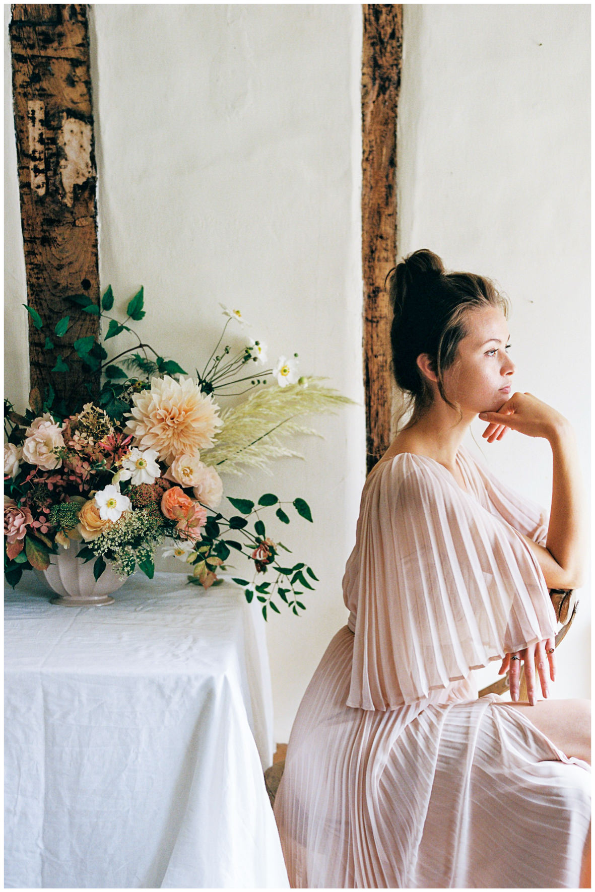 Lucy Davenport Photography, Once Wed, Home Creations, The Wedding Stylist, Verity & Thyme, tablescape, intimate dinner, wedding breakfast, florals, bouquet, model, coloured wedding dress