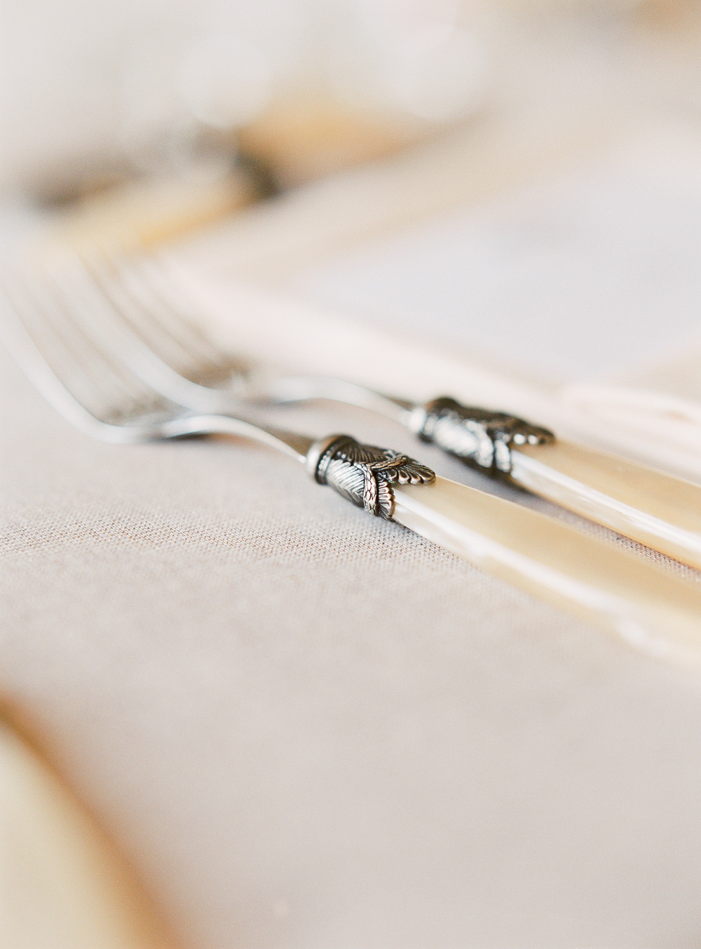 Ivory and antique silver cutlery
