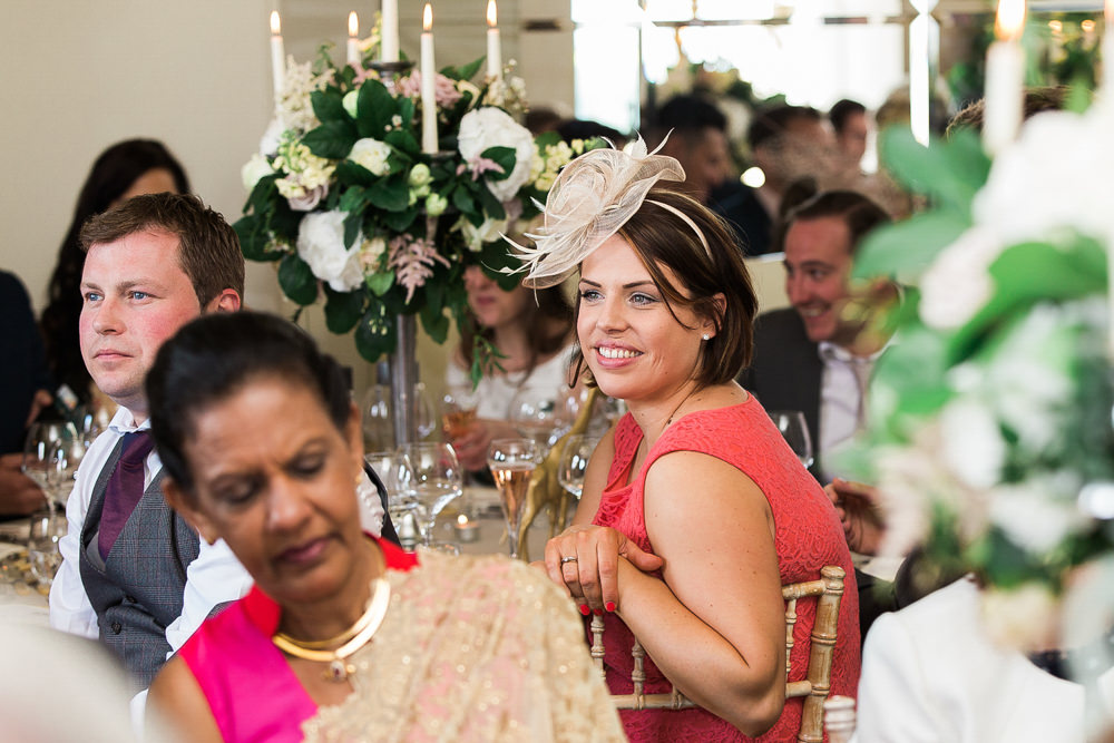 Wedding guest during speeches