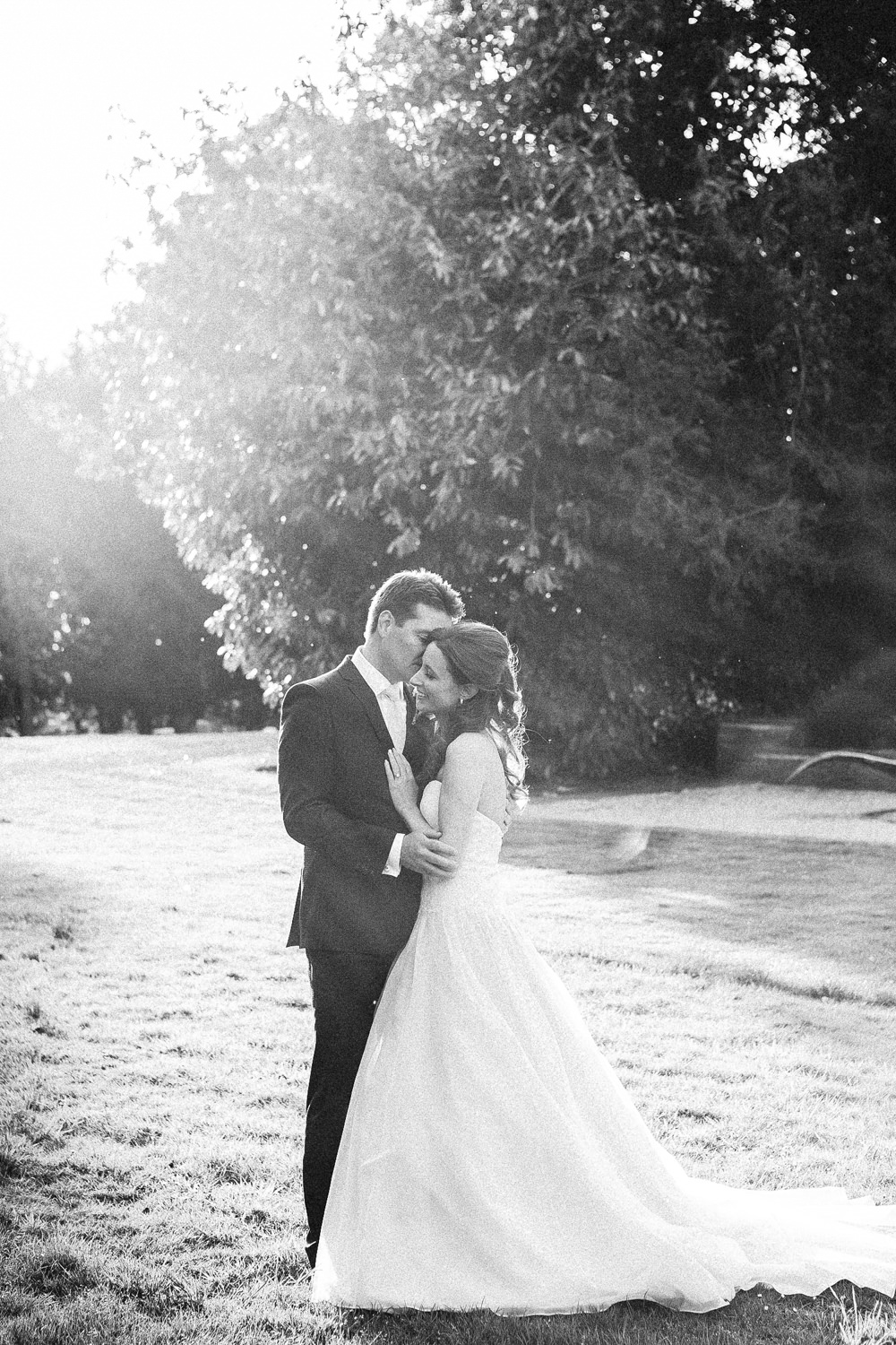 Bride and groom golden hour black and white