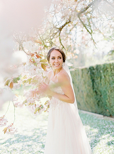 Holdenby House, bride in blossom, blush pink wedding dress