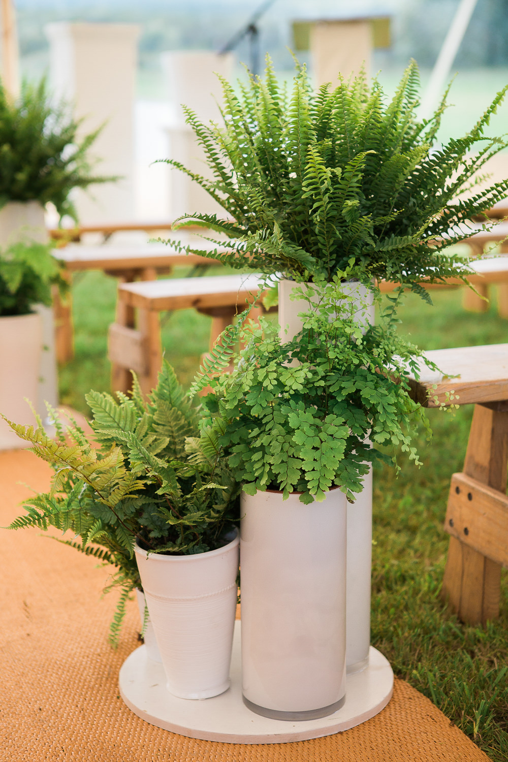 Fern Pew ends for wedding ceremony