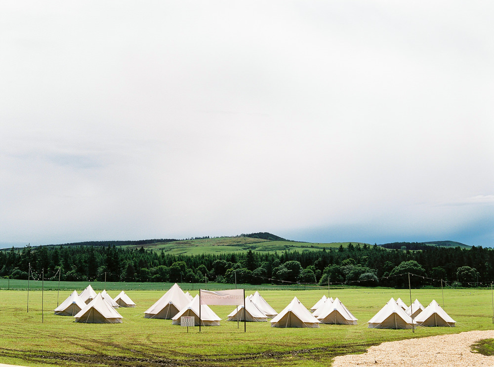Guest glamping field of tents