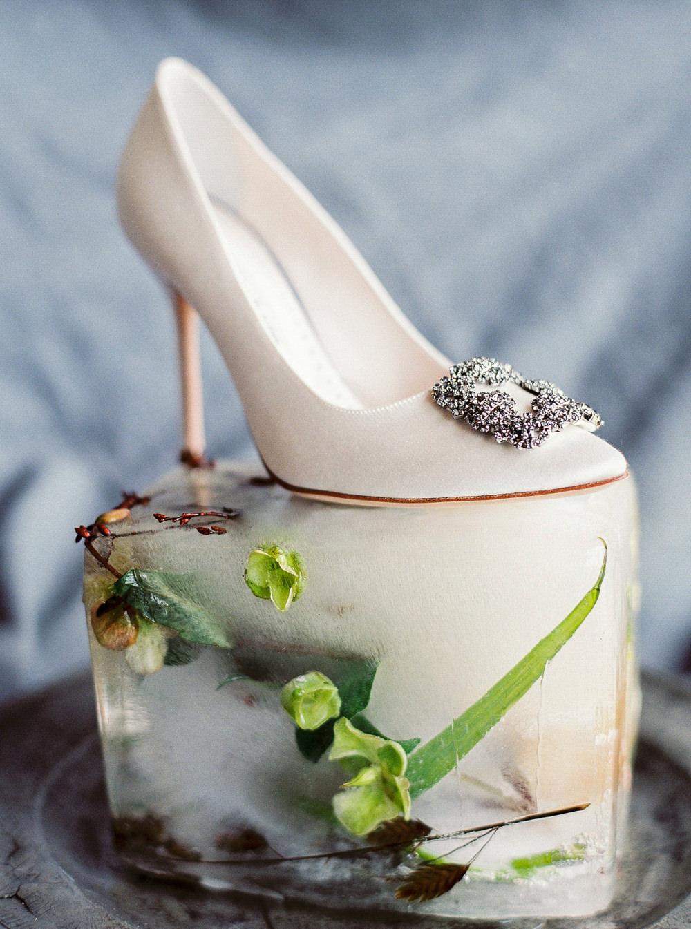 Manolo Blahnik shoe frozen florals