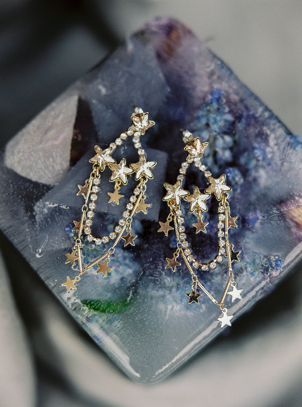 Tilly Thomas Lux Celeste earrings frozen florals