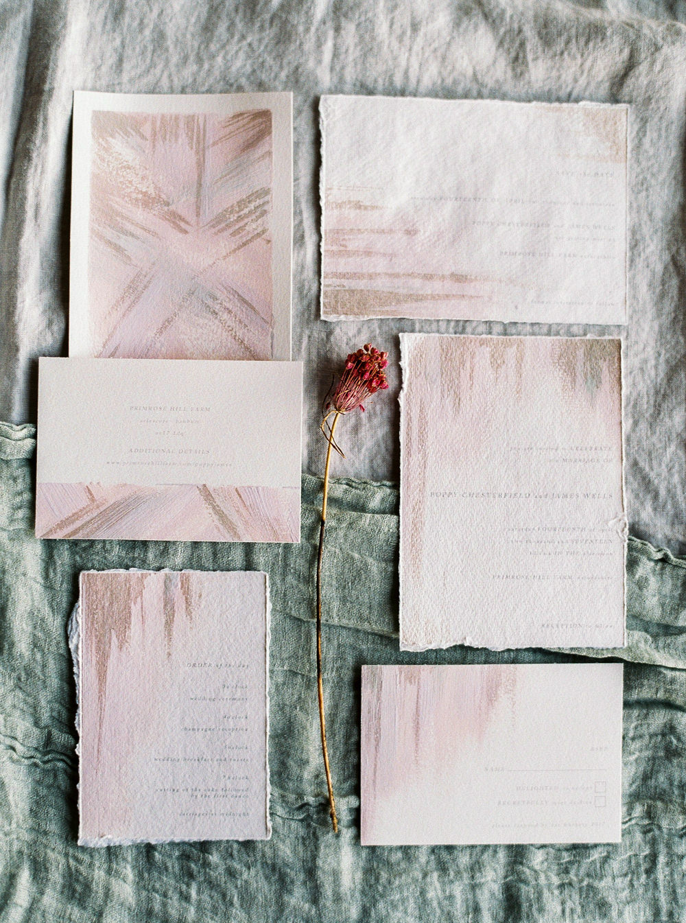 Soft pink Wedding stationery suite