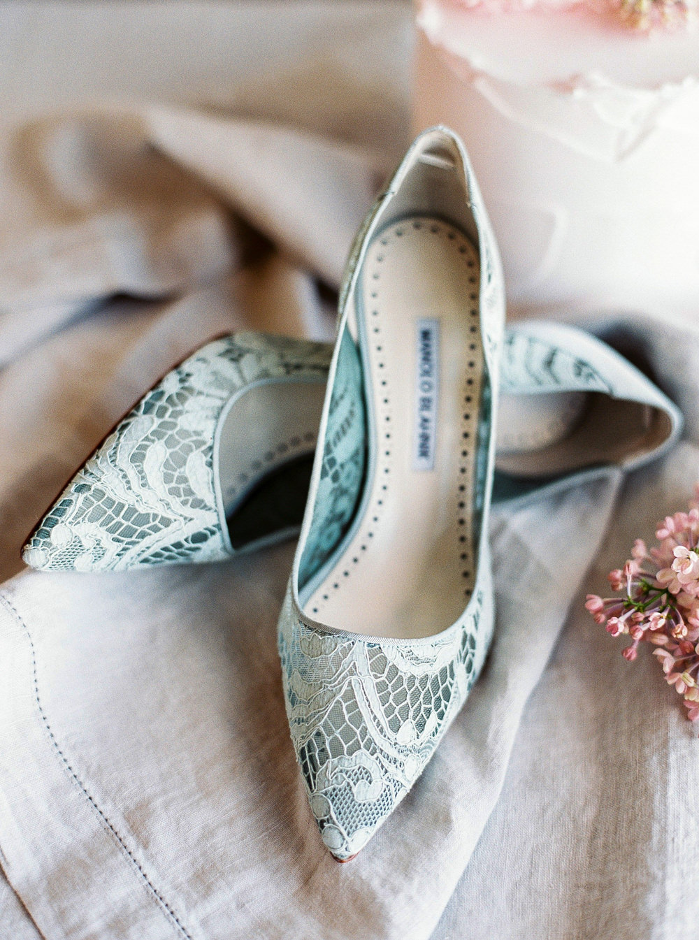 Manolo Blahnik blue lace shoes