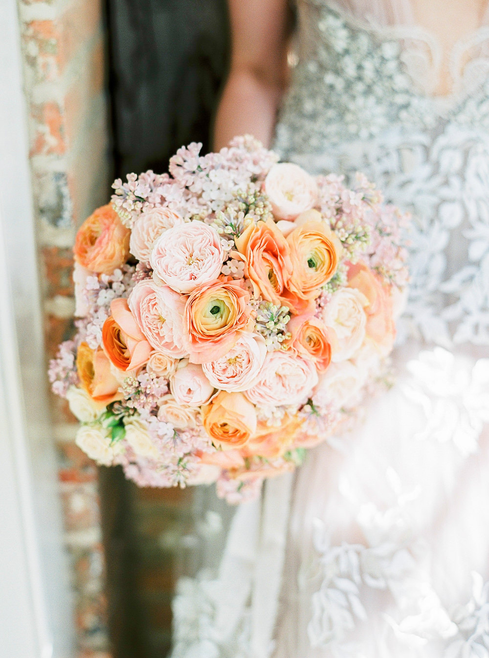Coral coloured bouquet