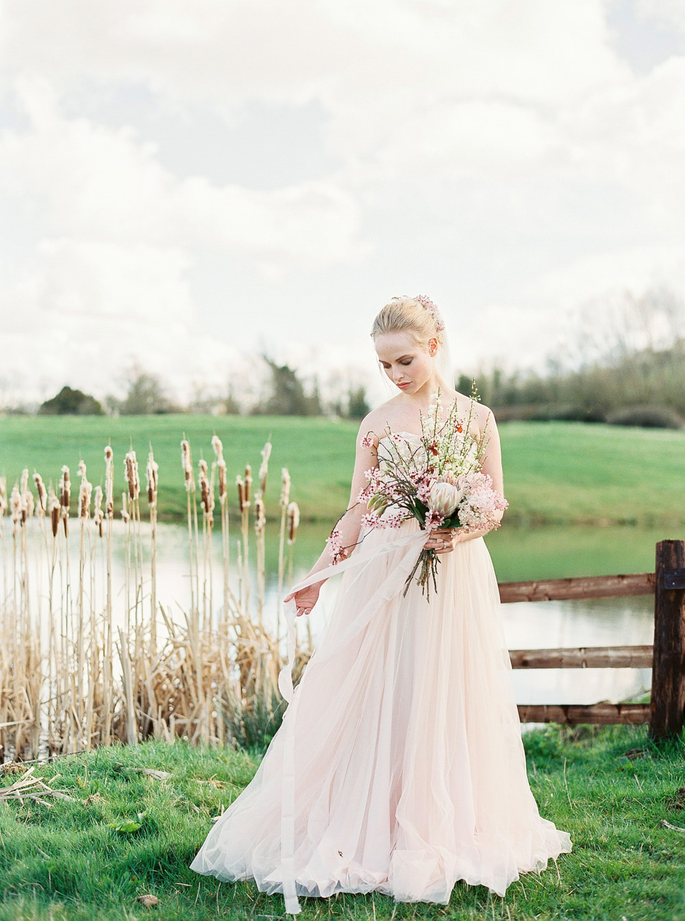 soft pink wedding dress