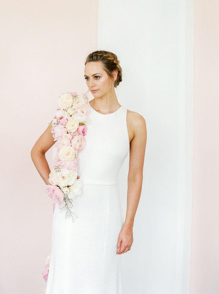 Boho bride with floral boa