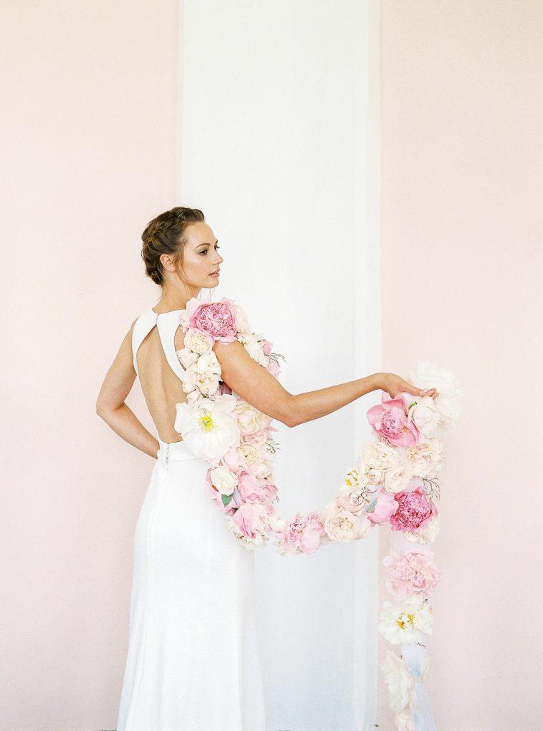 Cool bride with unique florals