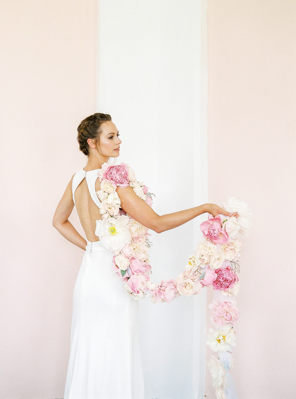 Cool bride with unique florals