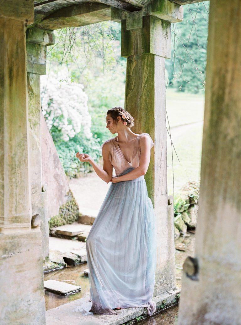 Bride in coloured wedding dress