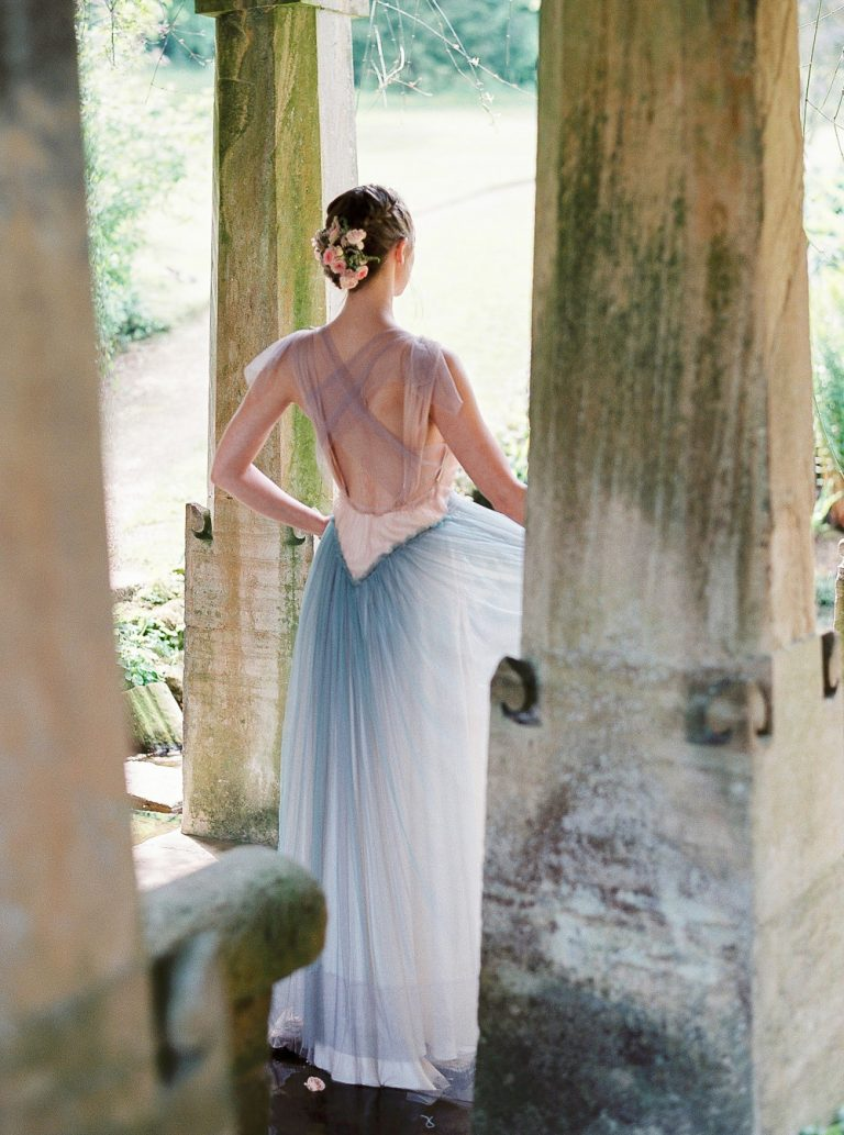 Coloured wedding dress by Sophia Kokosalaki