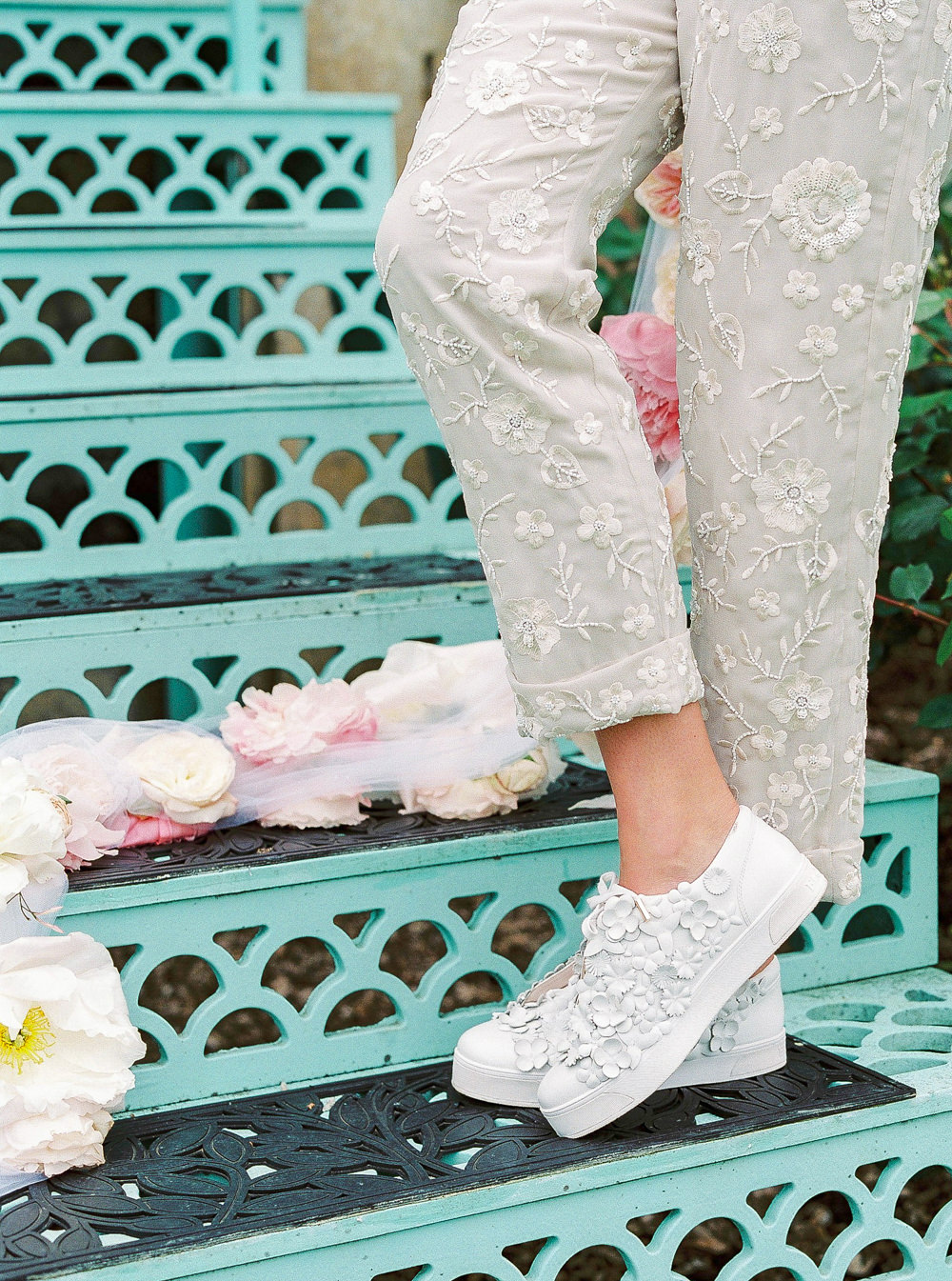 Bridal trainers with floral embellishments