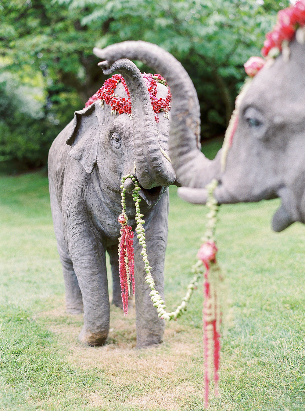 Floral decorated elephant statues
