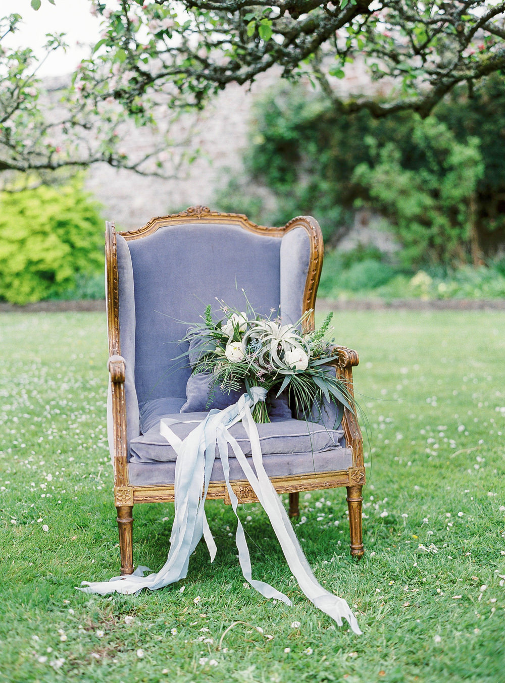 Armchair with bridal bouquet