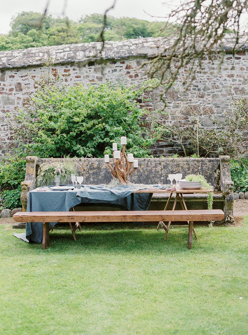 Outdoor tablescape for intimate meal