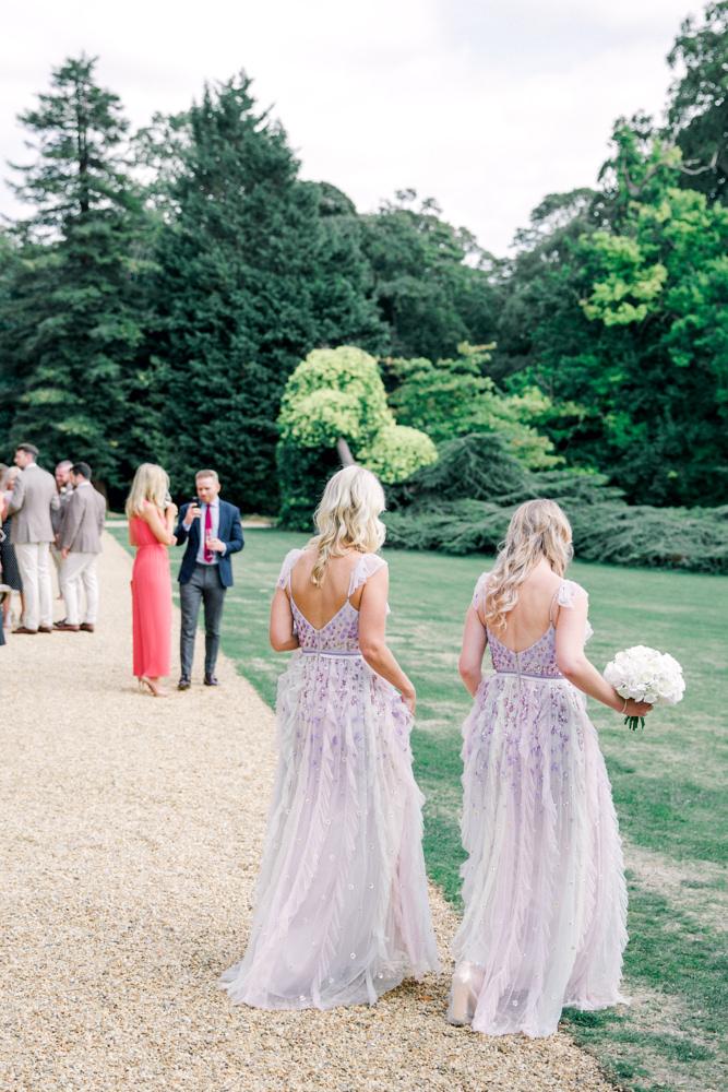 Bridesmaids walking away
