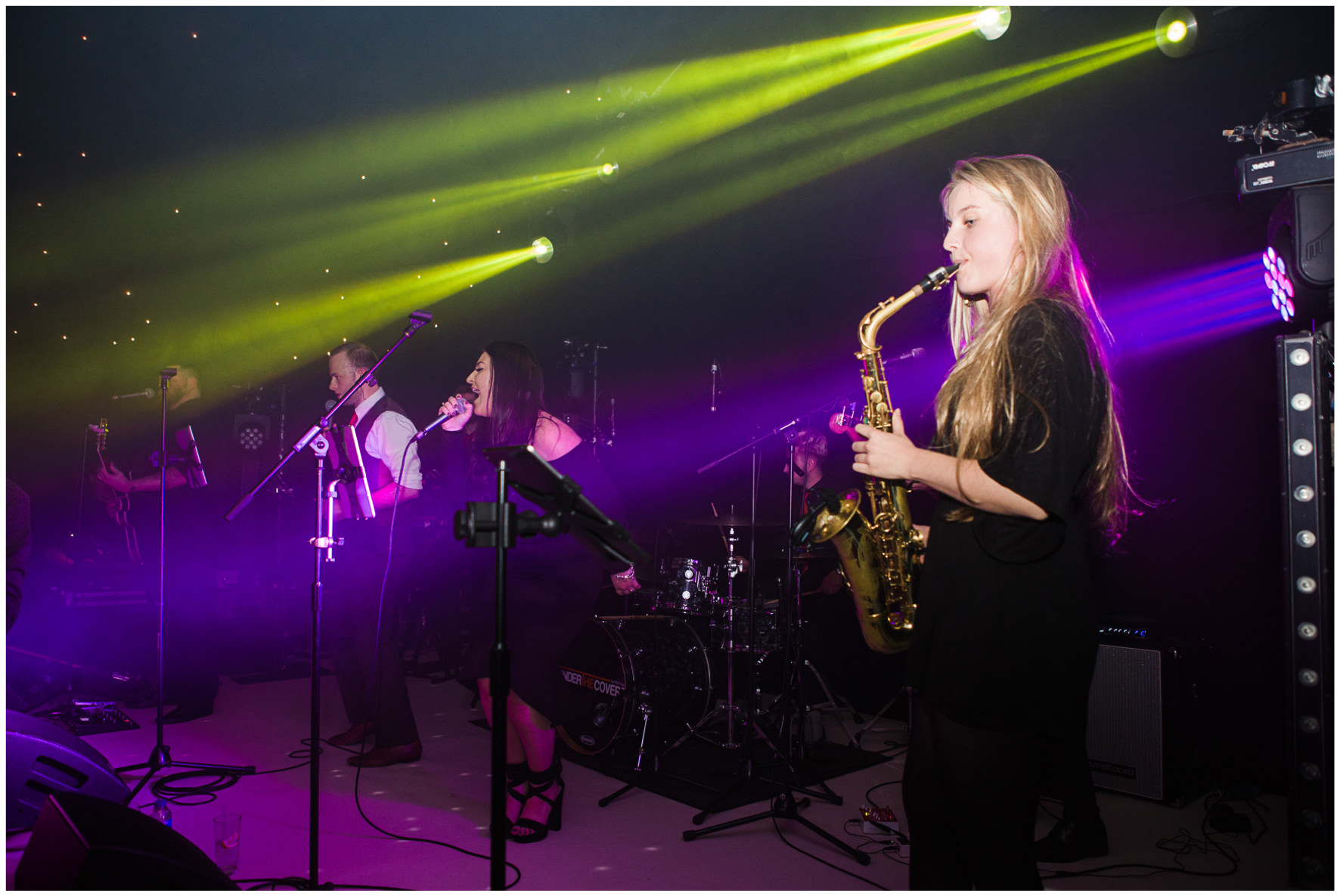 Lucy Davenport Photography, home wedding, marquee wedding, surprise first dance, band