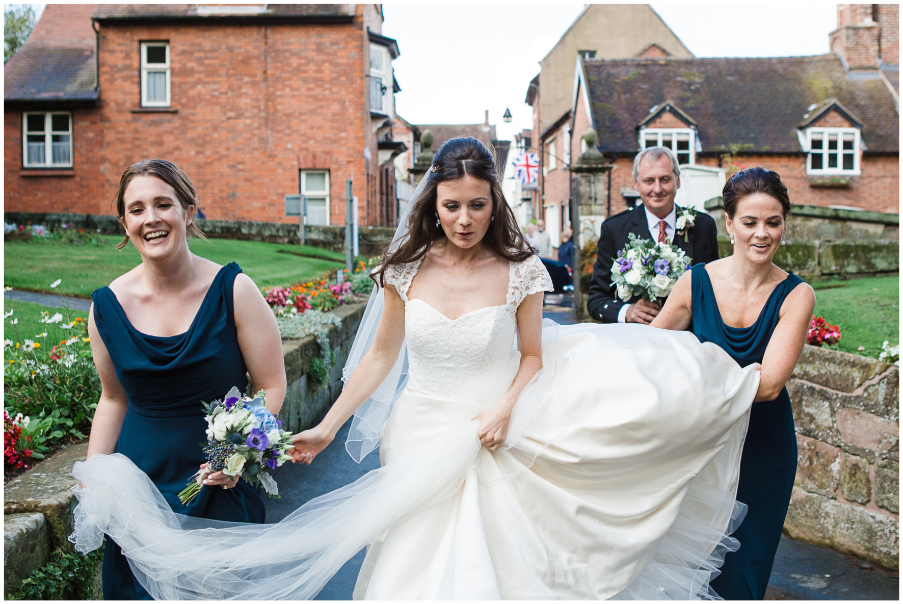 Lucy Davenport Photography, home wedding, marquee wedding, Caroline Castigliano, wedding dress, church wedding, bridesmaids, wet wedding