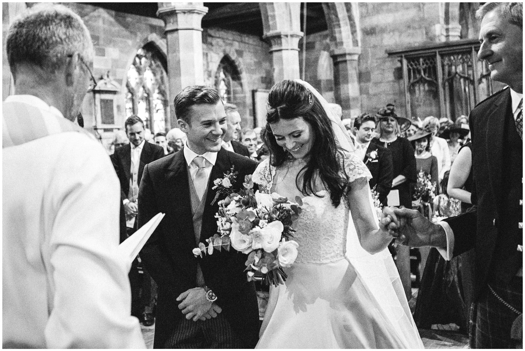 Lucy Davenport Photography, home wedding, marquee wedding, Caroline Castigliano, wedding dress, alter, groom, bride
