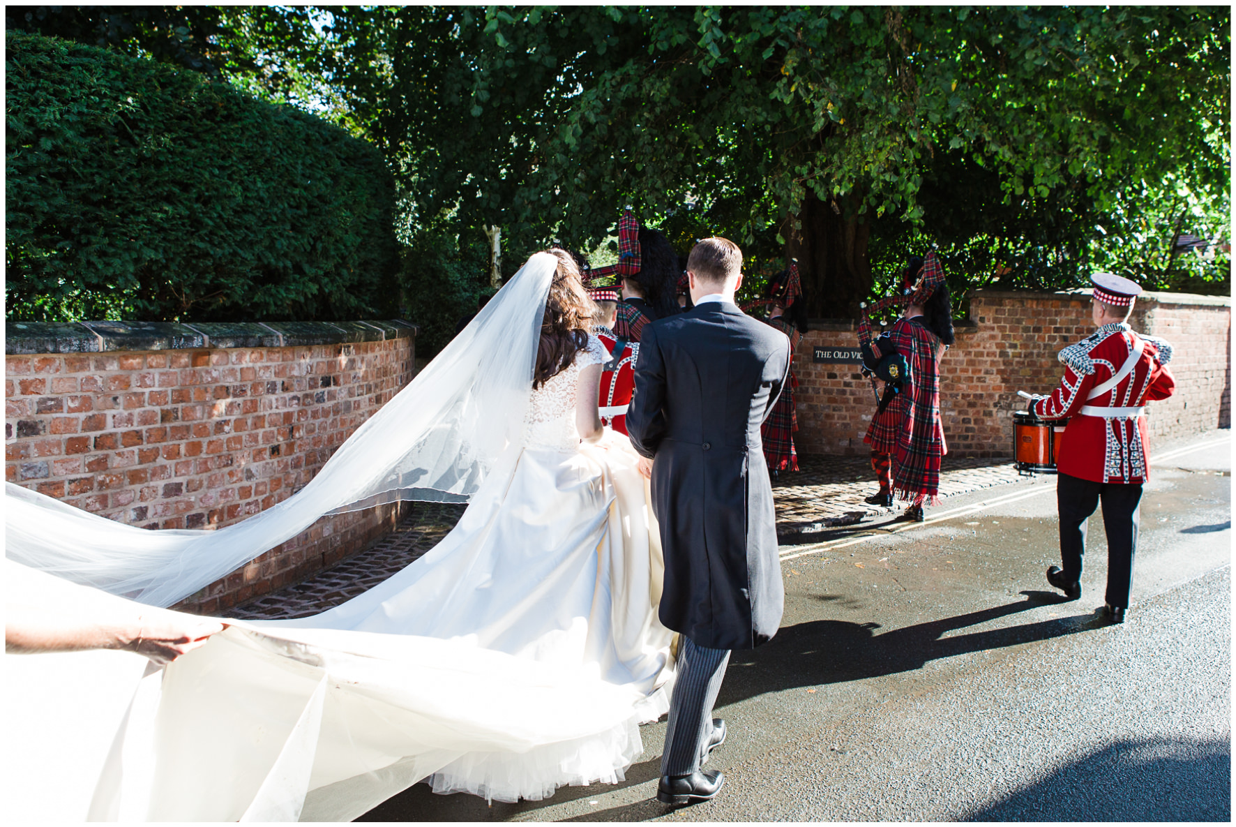 Lucy Davenport Photography, home wedding, marquee wedding, Caroline Castigliano, wedding dress, veil, procession