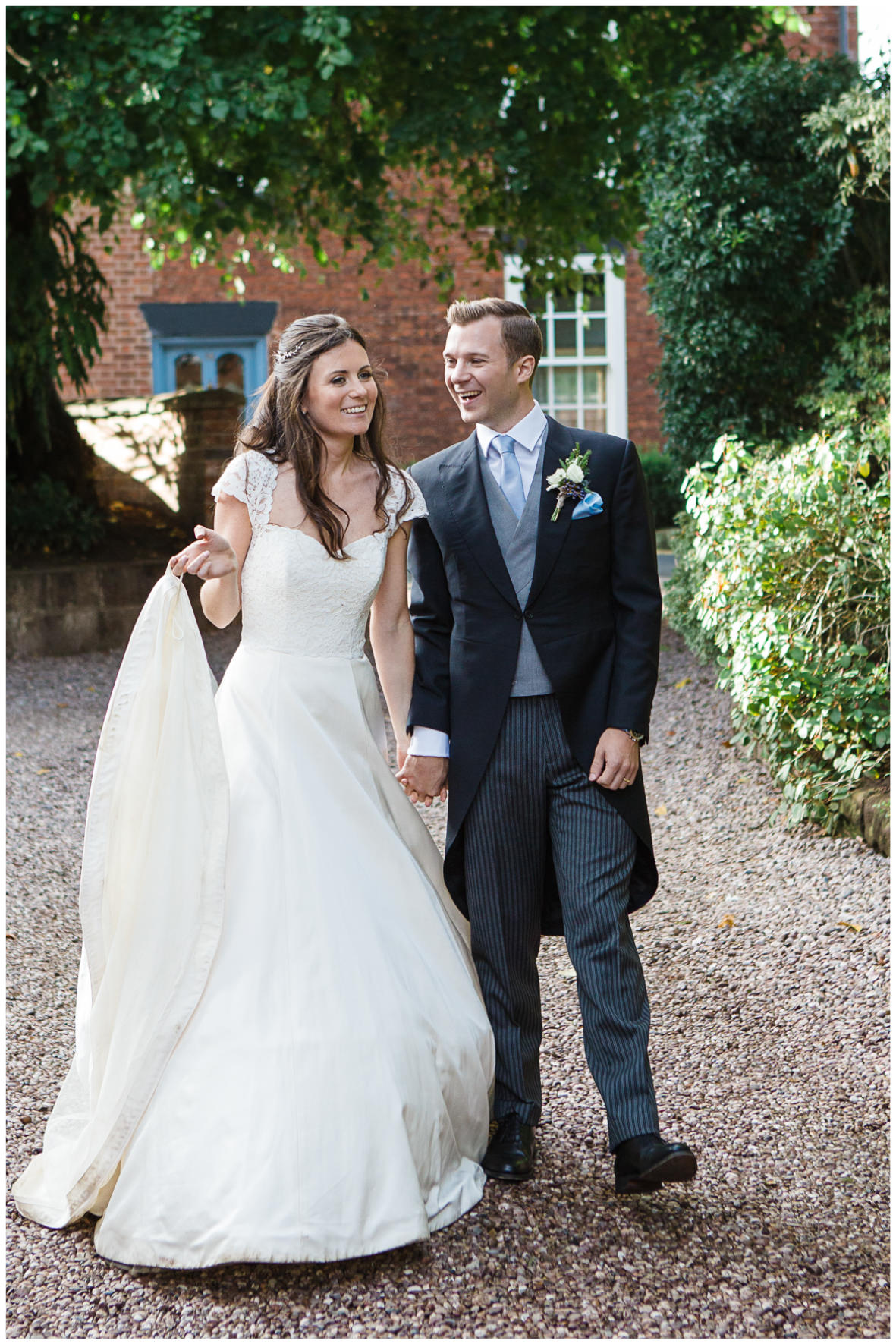 Lucy Davenport Photography, home wedding, marquee wedding, Caroline Castigliano, wedding dress, bridal couple, bride, groom