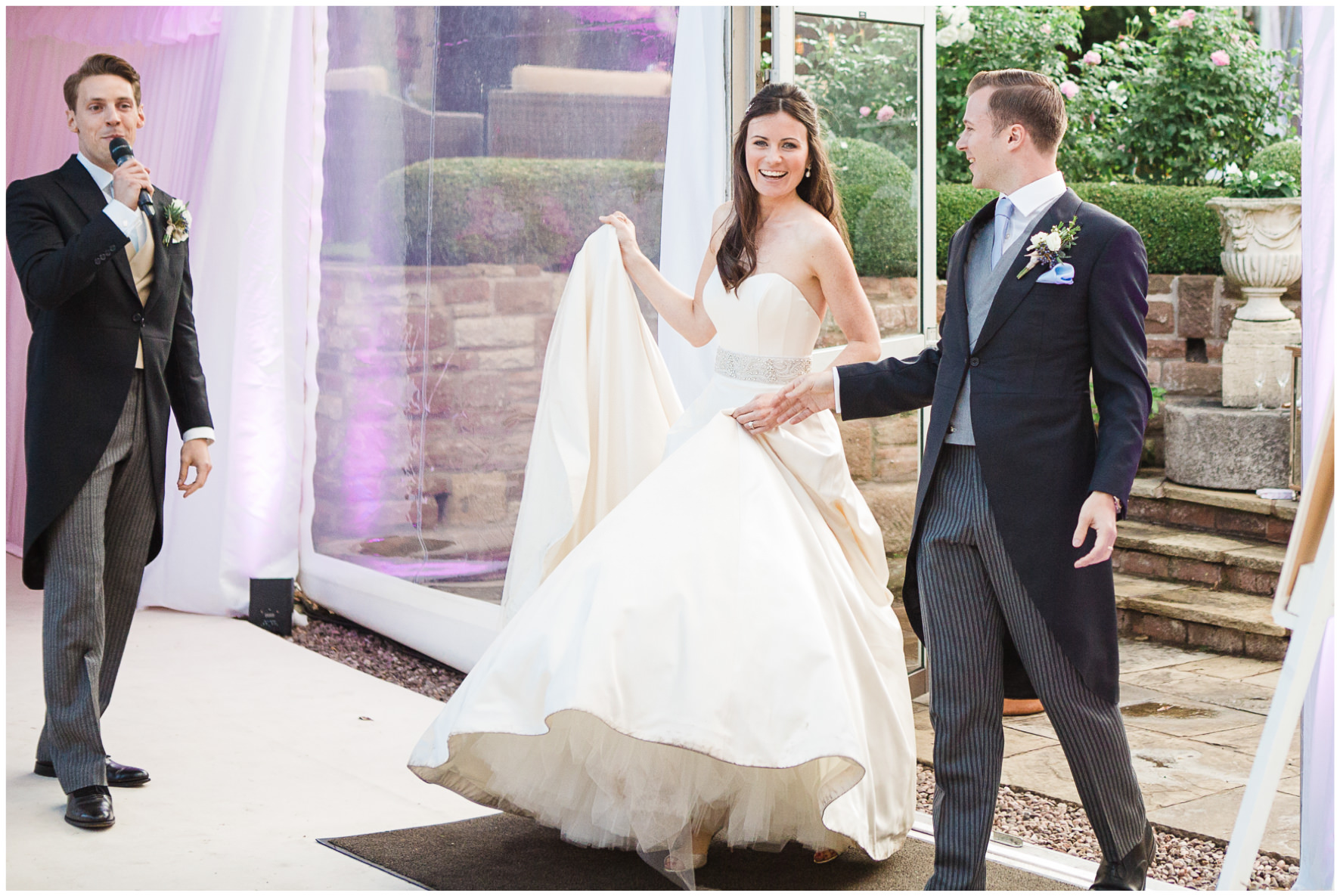 Lucy Davenport Photography, home wedding, marquee wedding, clear marquee, Caroline Castigliano, wedding dress, entrance