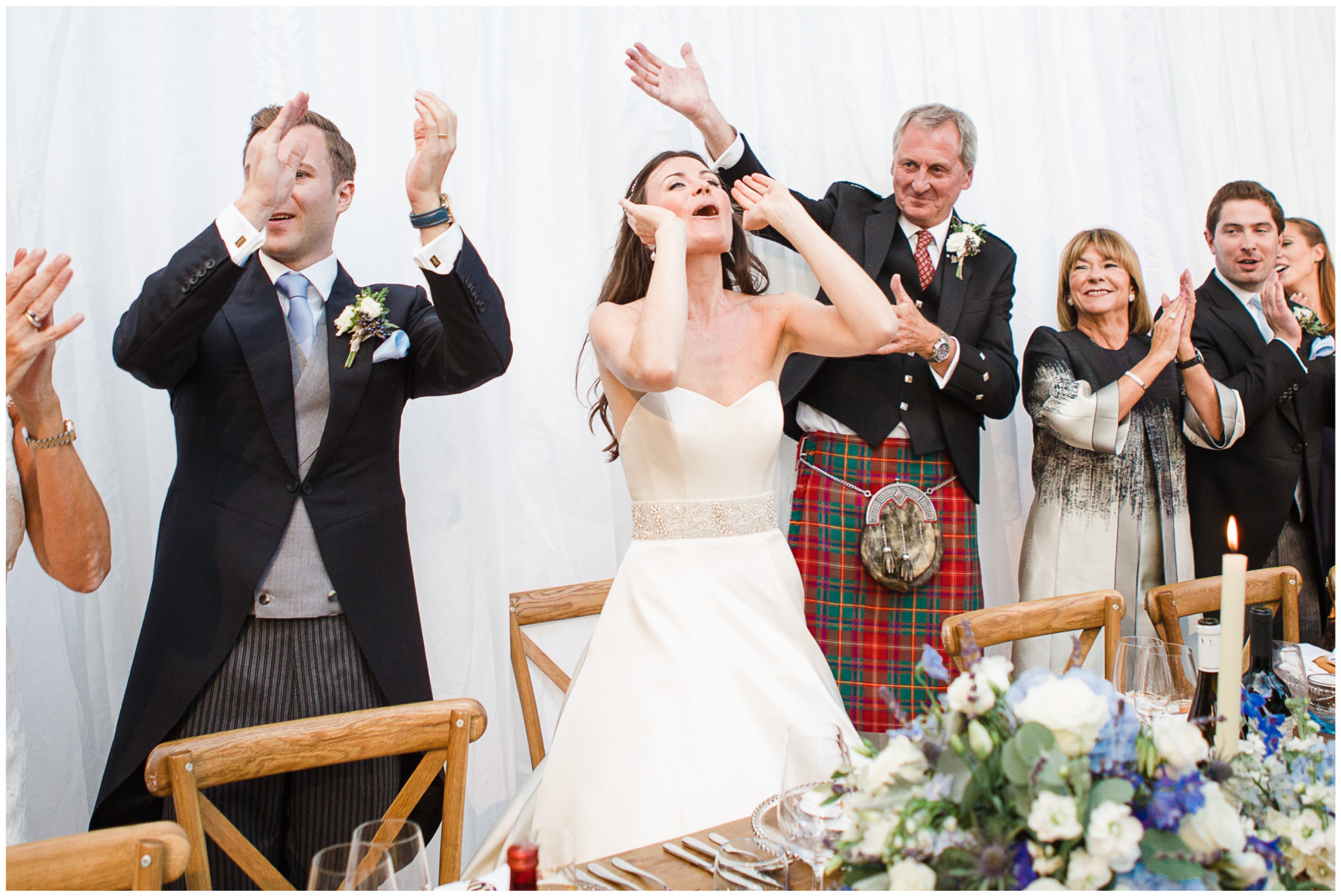 Lucy Davenport Photography, home wedding, marquee wedding, clear marquee, wedding guests, wedding breakfast, toptable