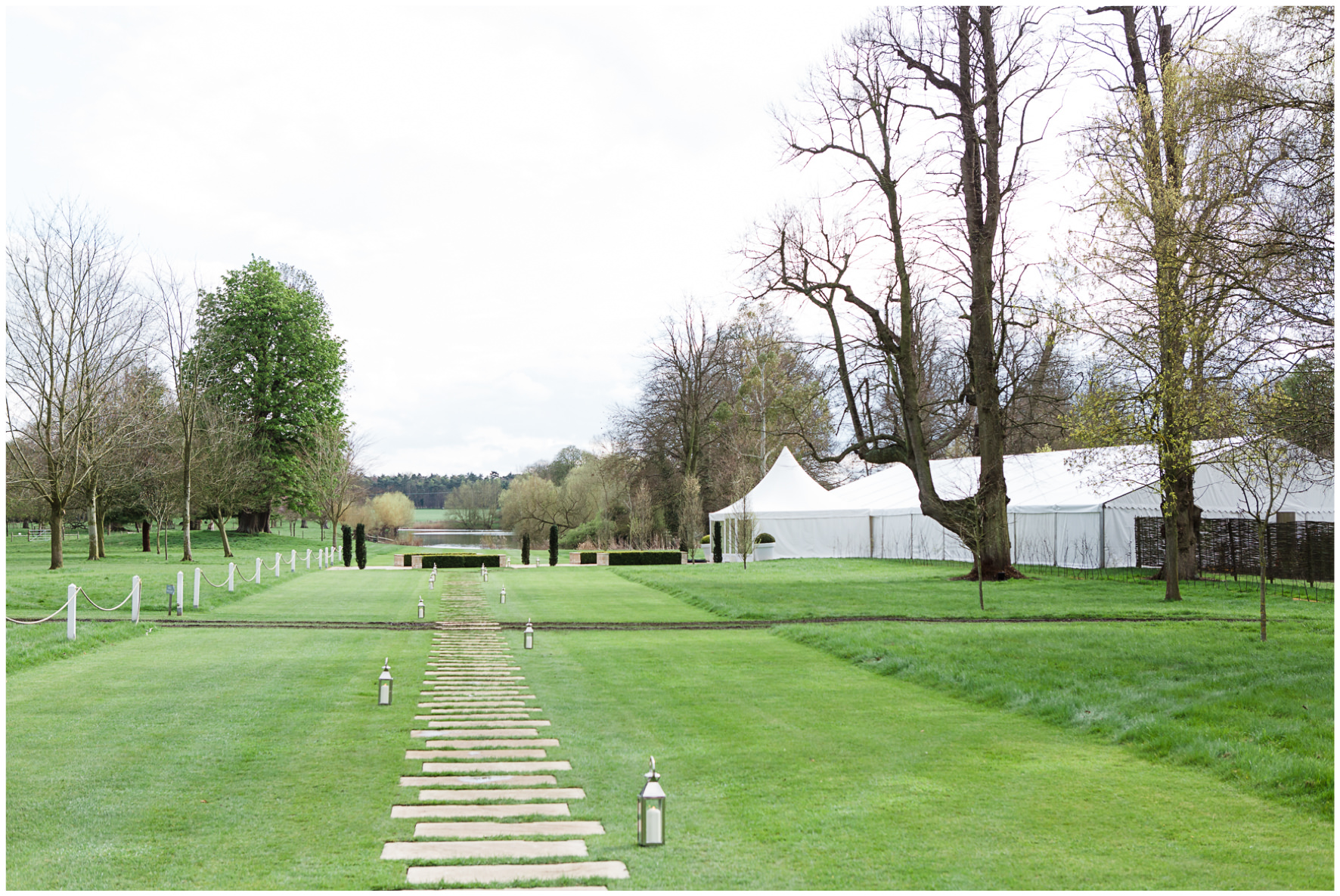 Lucy Davenport Photography, Katrina Otter Weddings, Chippenham Park, marquee, grounds