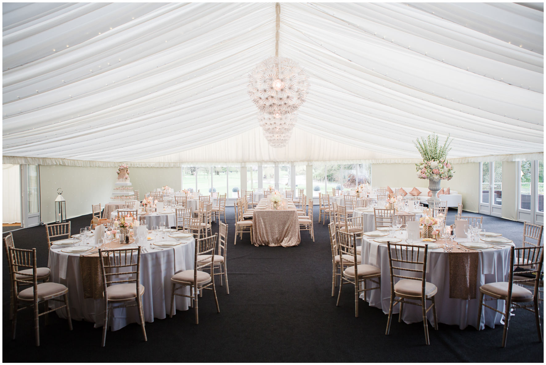 Lucy Davenport Photography, Katrina Otter Weddings, Chippenham Park, marquee, wedding breakfast, tablescape