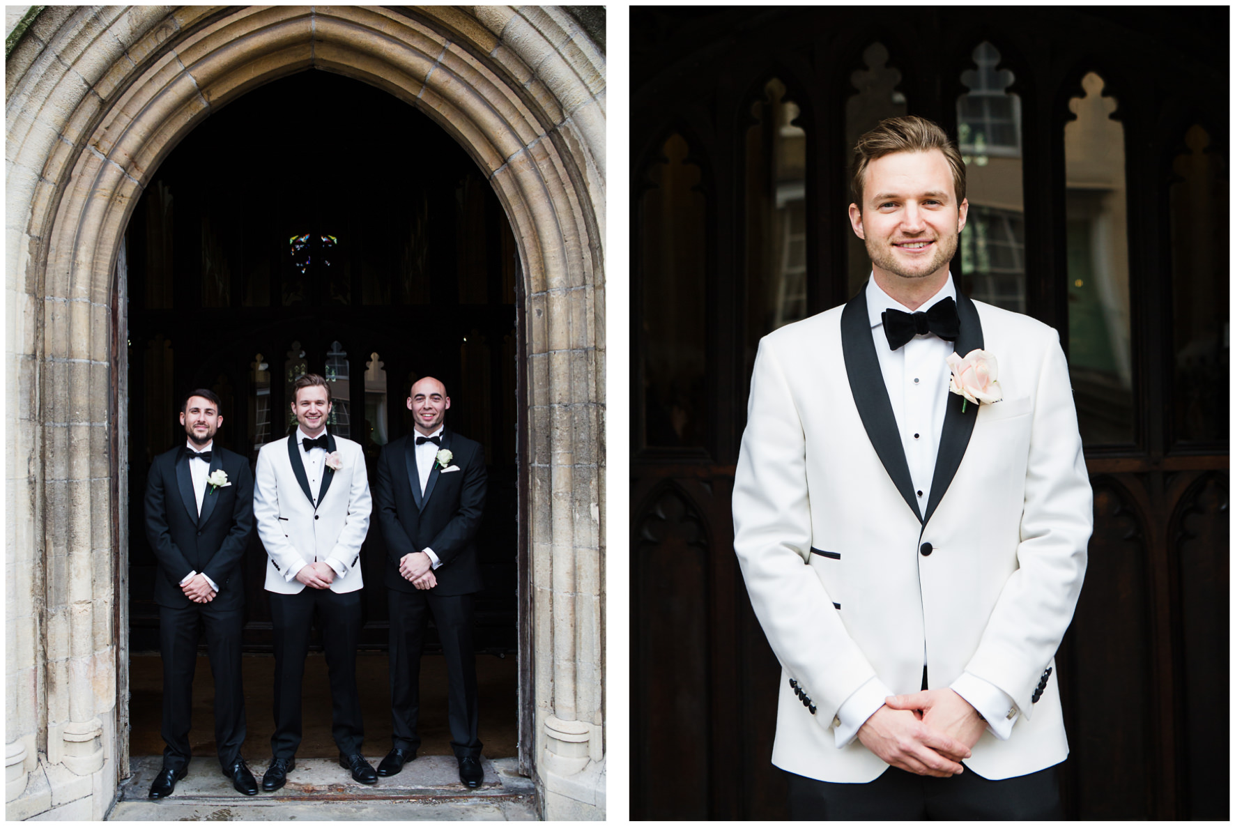 Lucy Davenport Photography, Katrina Otter Weddings, Chippenham Park, church wedding, groom, groomsmen, tuxedo, white tuxedo