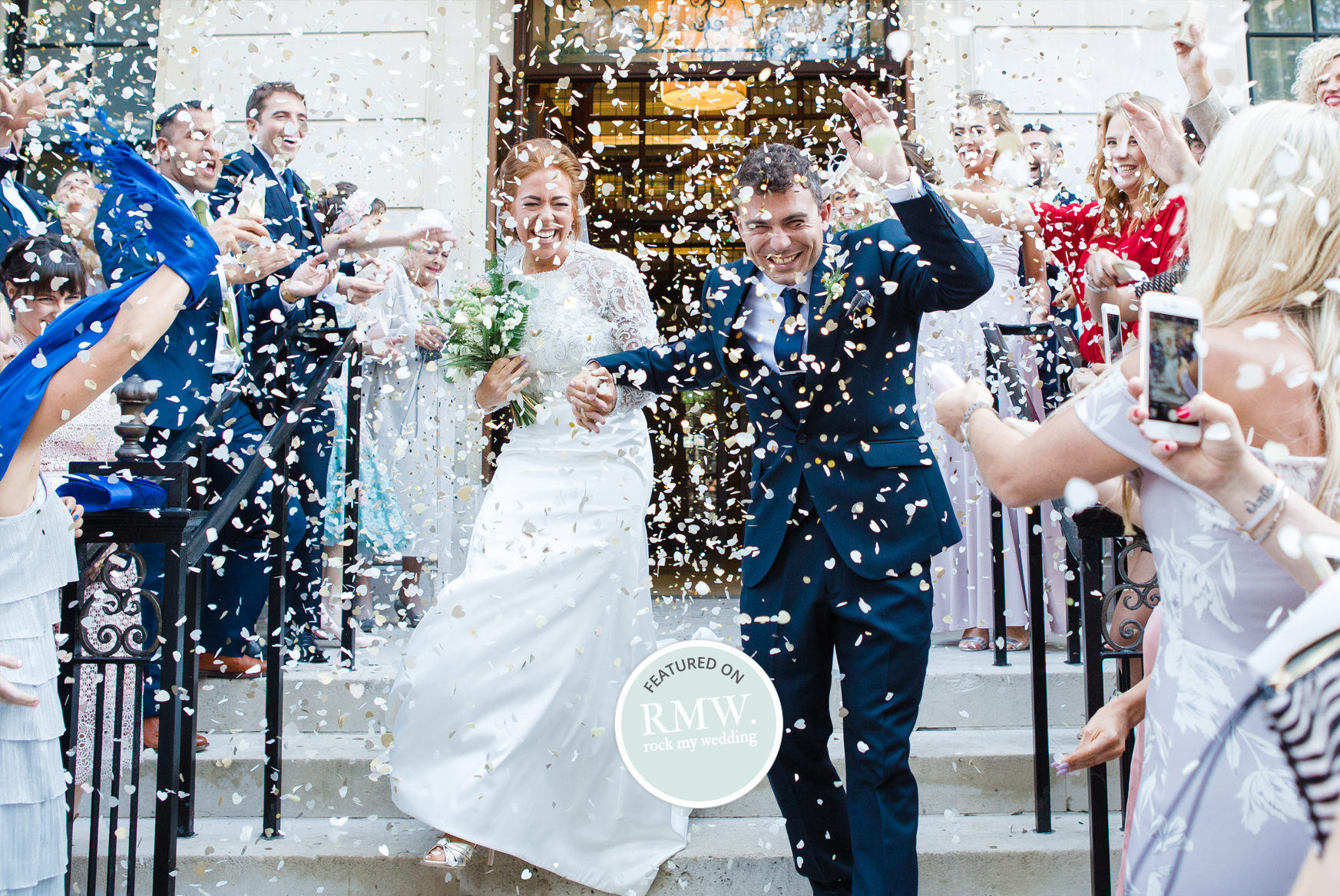 Bride and groom, confetti, just married,