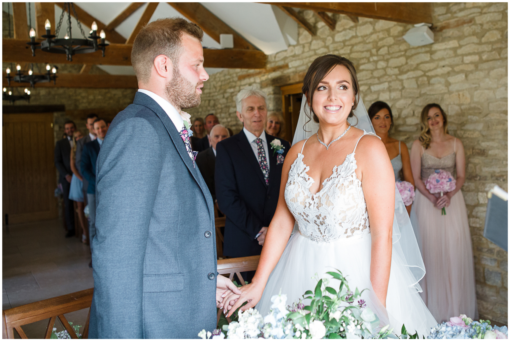 Bride and groom ceremony Caswell House