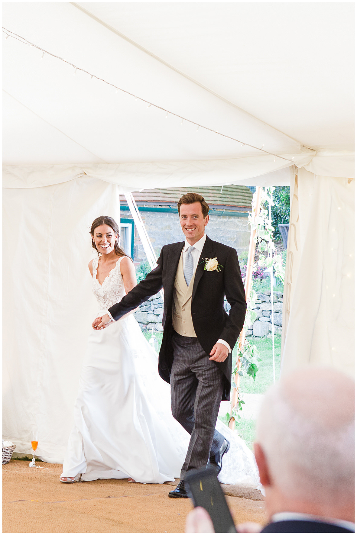 Bride and groom entrance, Rime Arodaky dress
