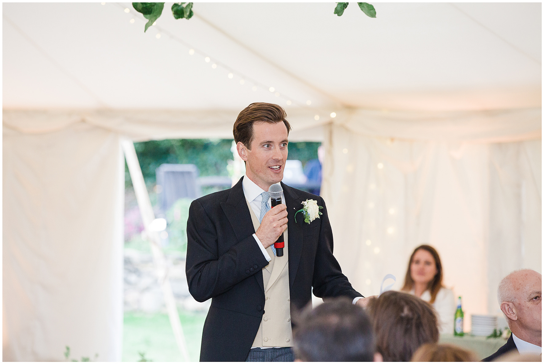 Groom delivering his speech