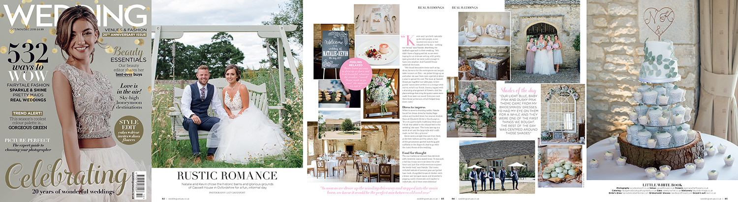 Caswell House real wedding featured in Wedding Venues and Fashion magazine.