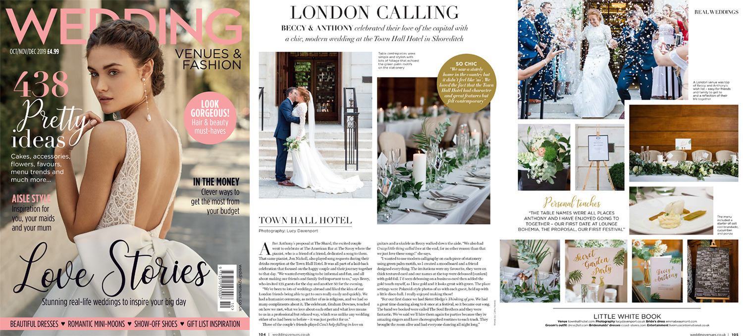 Wedding Venues magazine spread of Town Hall Hotel