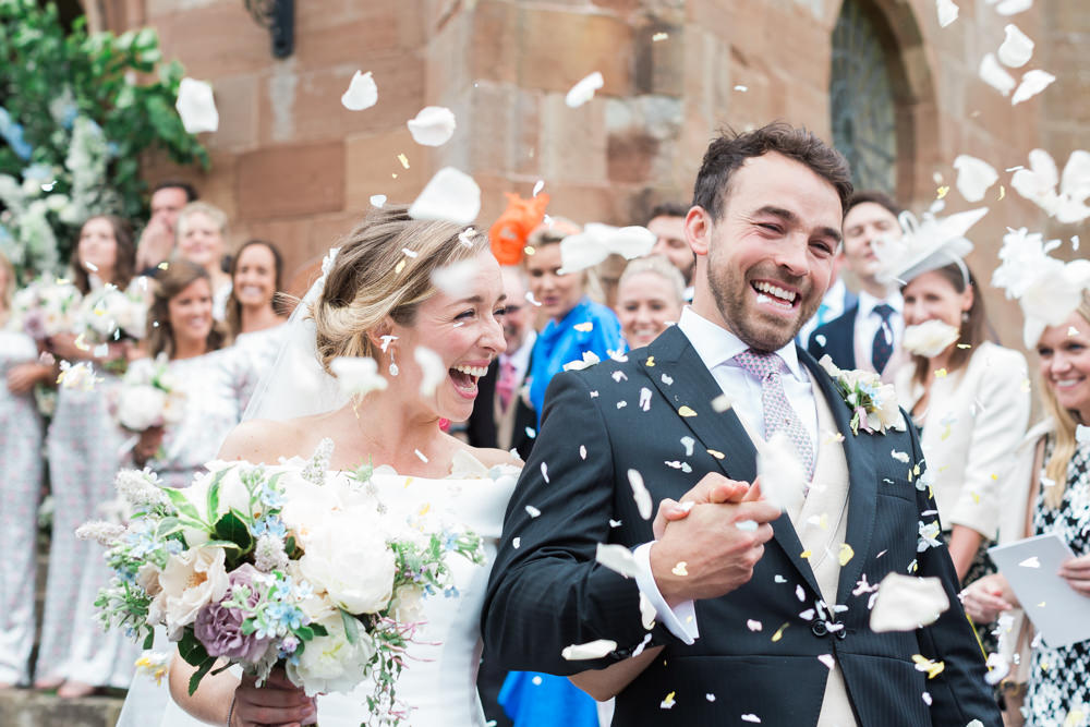 bride and groom confetti thrown